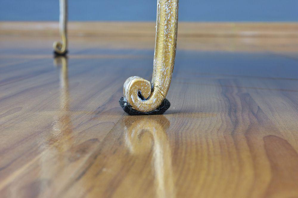 Cama de Ferro Forjado Mar Solteiro Com Peseira-  Branca com Patina de Ouro Envelhecido