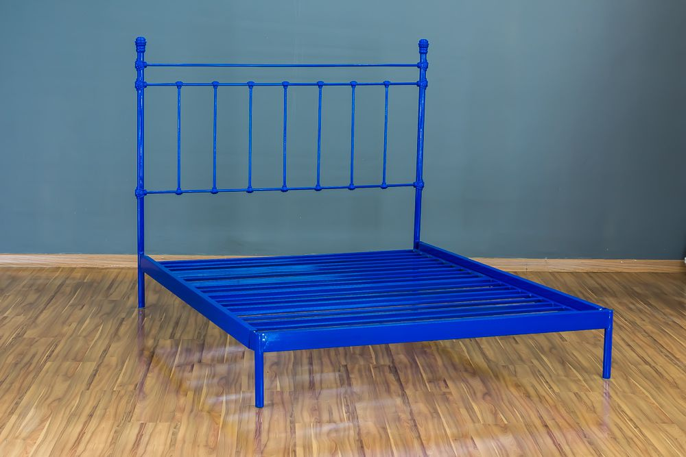 Cama de Ferro Luísa King Azul - Sem desenho da peseira