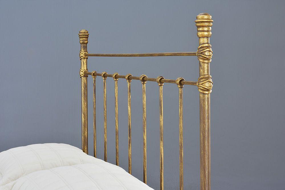 Cama de Ferro Luísa Queen - Sem desenho da peseira - Pátina Envelhecido