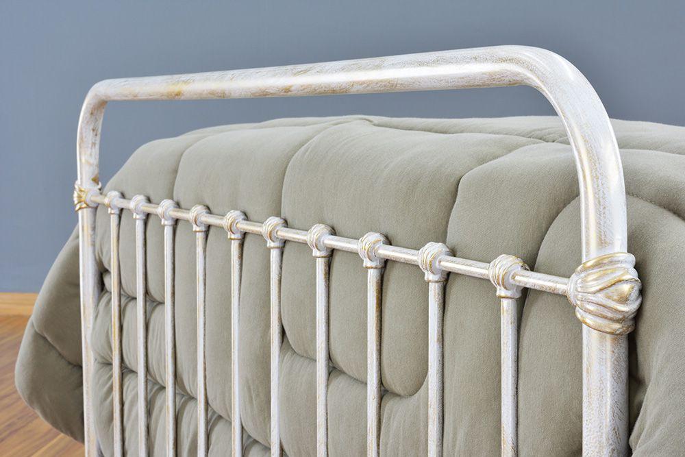 Cama de Ferro Patente Casal Comum Branca Envelhecido
