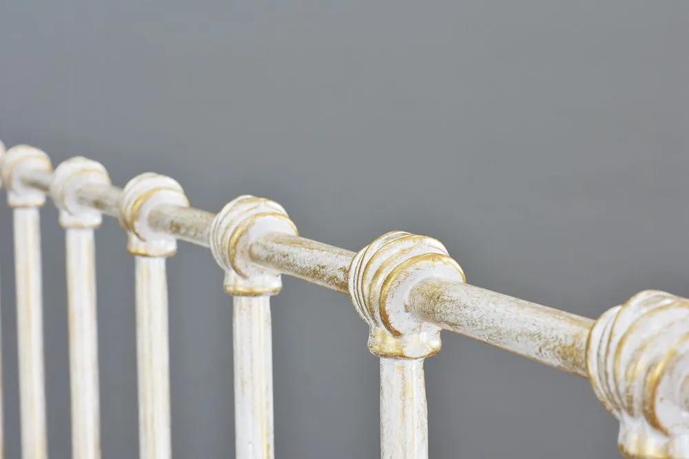 Cama de Ferro Patente Casal Comum - Sem Peseira - Branco Envelhecido