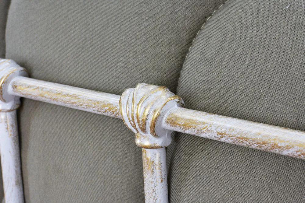 Cama de Ferro Patente King Branca Envelhecido