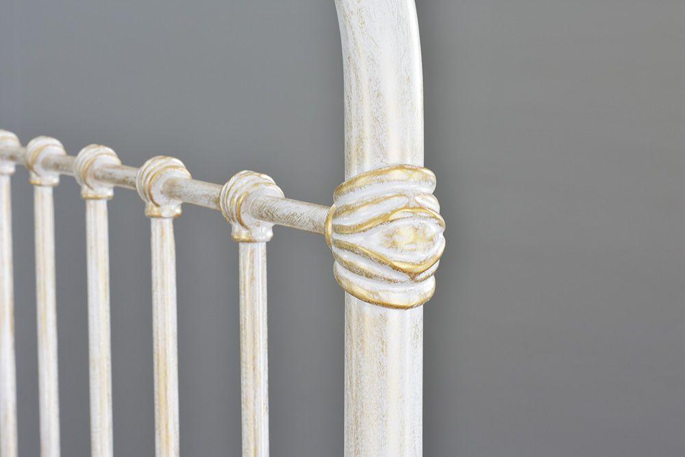 Cama de Ferro Patente King - Sem Peseira - Branco Envelhecido