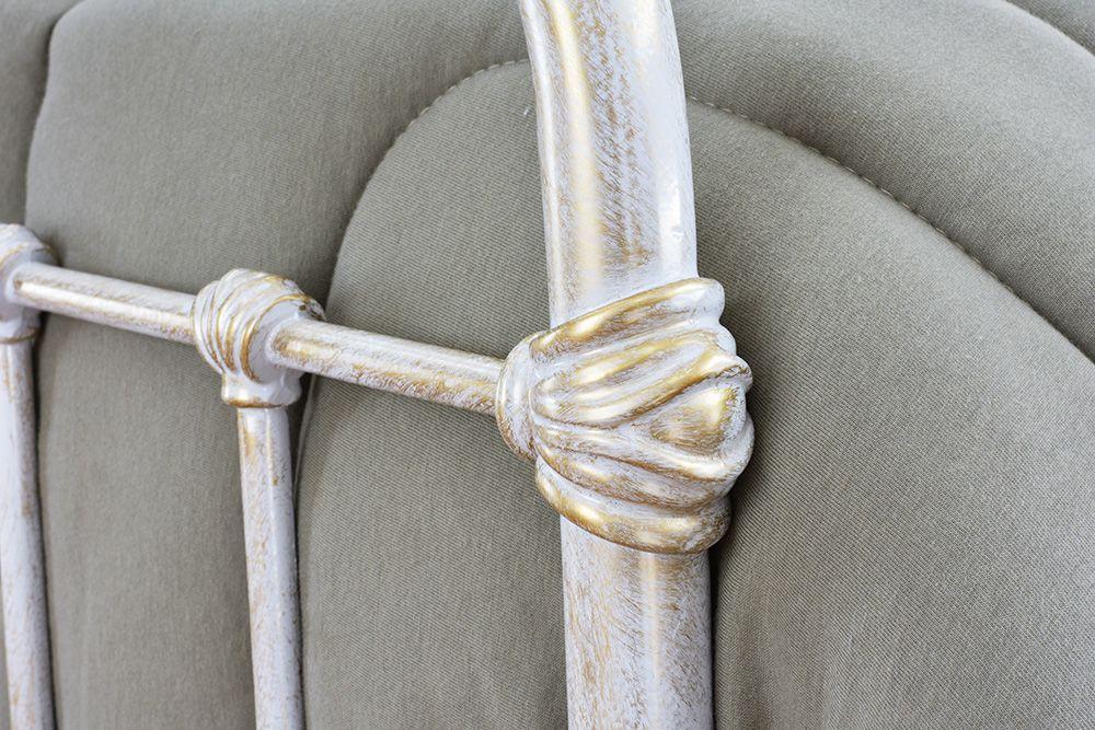 Cama de Ferro Patente Queen Branca Envelhecido