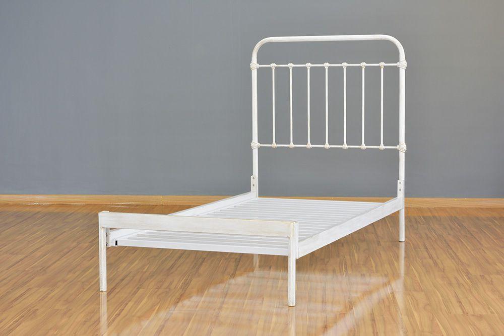Cama de Ferro Patente Solteiro Branca envelhecido - Sem Peseira