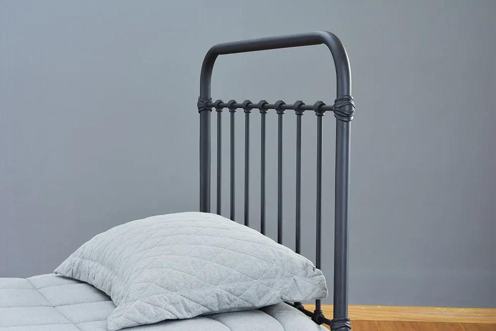 Cama de Ferro Patente Solteiro - Sem Peseira - Preto fosco