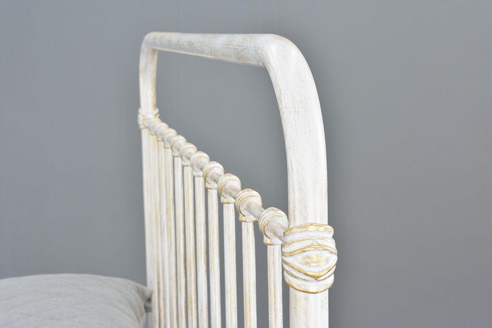 Cama de Ferro Patente Viuva - Sem Peseira -  Branco Envelhecido