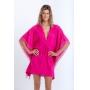 Kimono Beatriz Curto com Franjas Pink