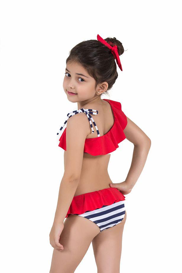 Biquíni Infantil Babadinho Estampa Navy Listras Azuis com Babado Vermelho