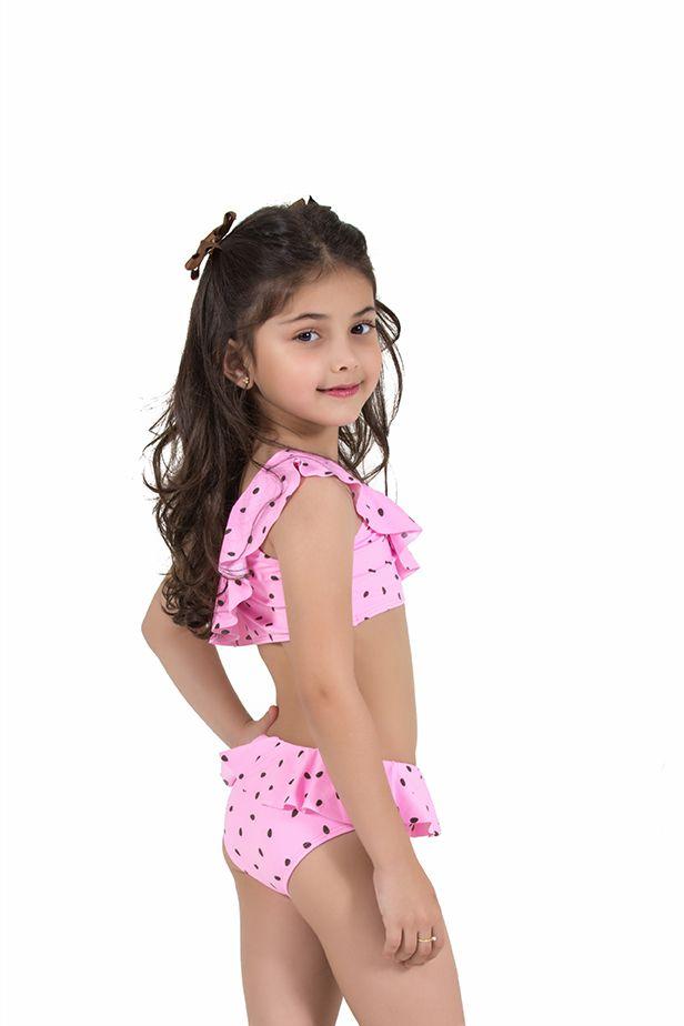 Biquíni Infantil Babadinho Estampado Rosa com Poá Marrom
