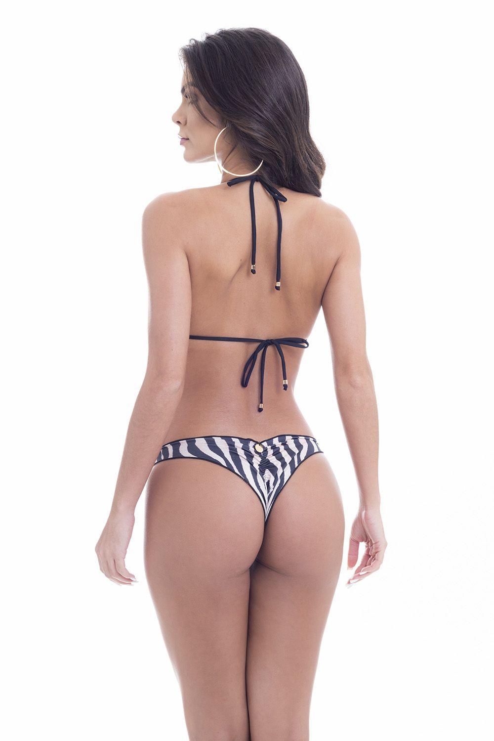 Biquíni Ripple Fru Fru Calça Inteira Levanta Bumbum Estampa Zebra