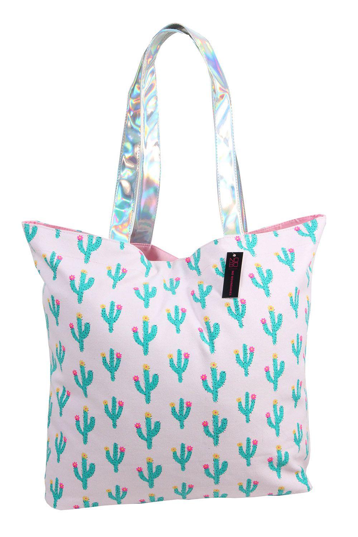 Bolsa de Praia Estampa Cactus com Fundo Rosa Bebê