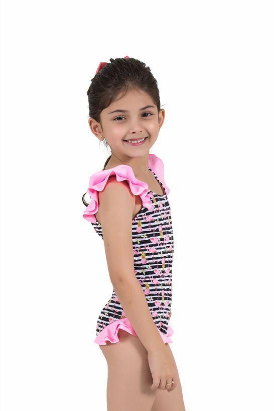 Maiô Infantil com Babadinhos Estampa Flamingo Rosa Neon