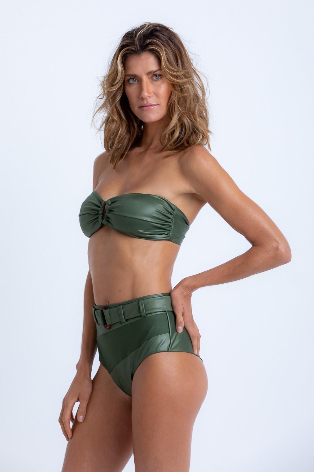 Tanga Flávia Hot Pant Fivela Verde Musgo Brilho