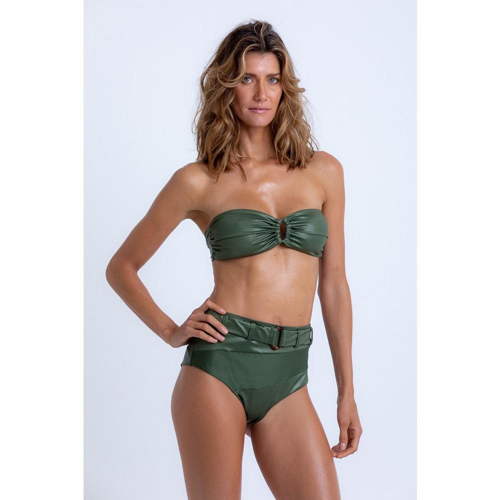 Top Carolina Bandeau Verde Brilho