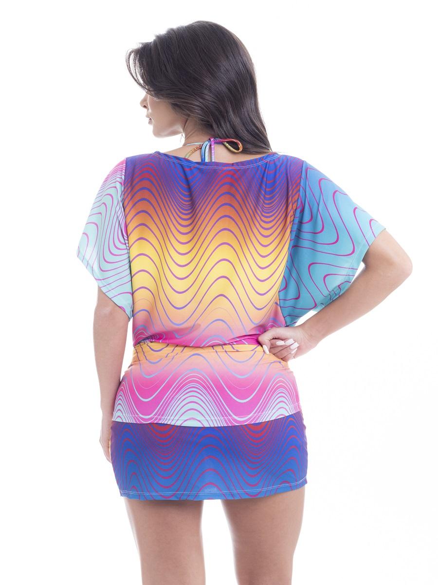 Vestido curto estampa geometric