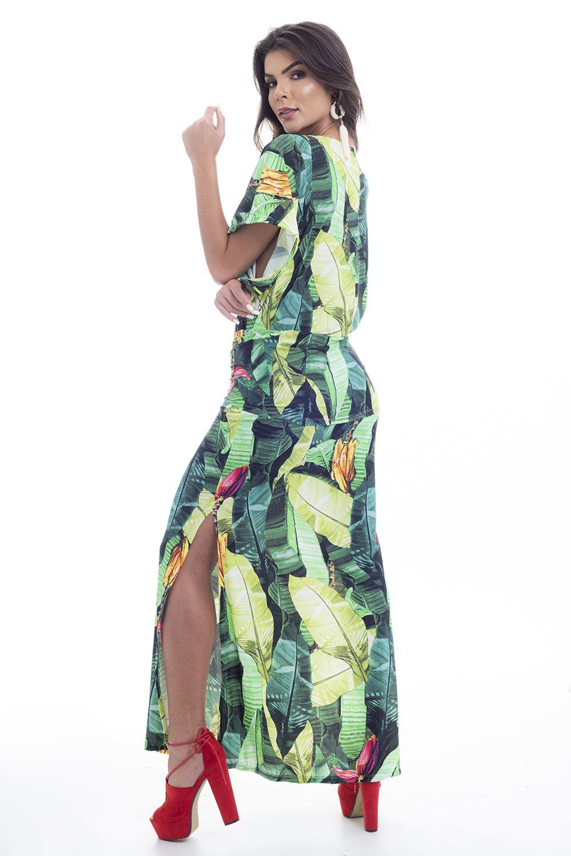Vestido Longo Amarração Estampa Bananeiras