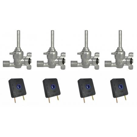 Kit 04 Registro Válvula + Chave Interruptor Fogão Cooktop Fischer