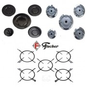 Kit 5 Espalha Chamas + 5 Queimadores + 5 Grades p/ Fogão Cooktop Fischer