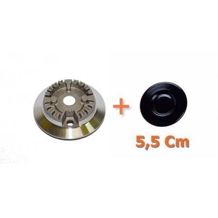 Kit Queimador + Espalha Chamas Pequeno 5,5 cm Fogão Cooktop C/ Aba Fischer