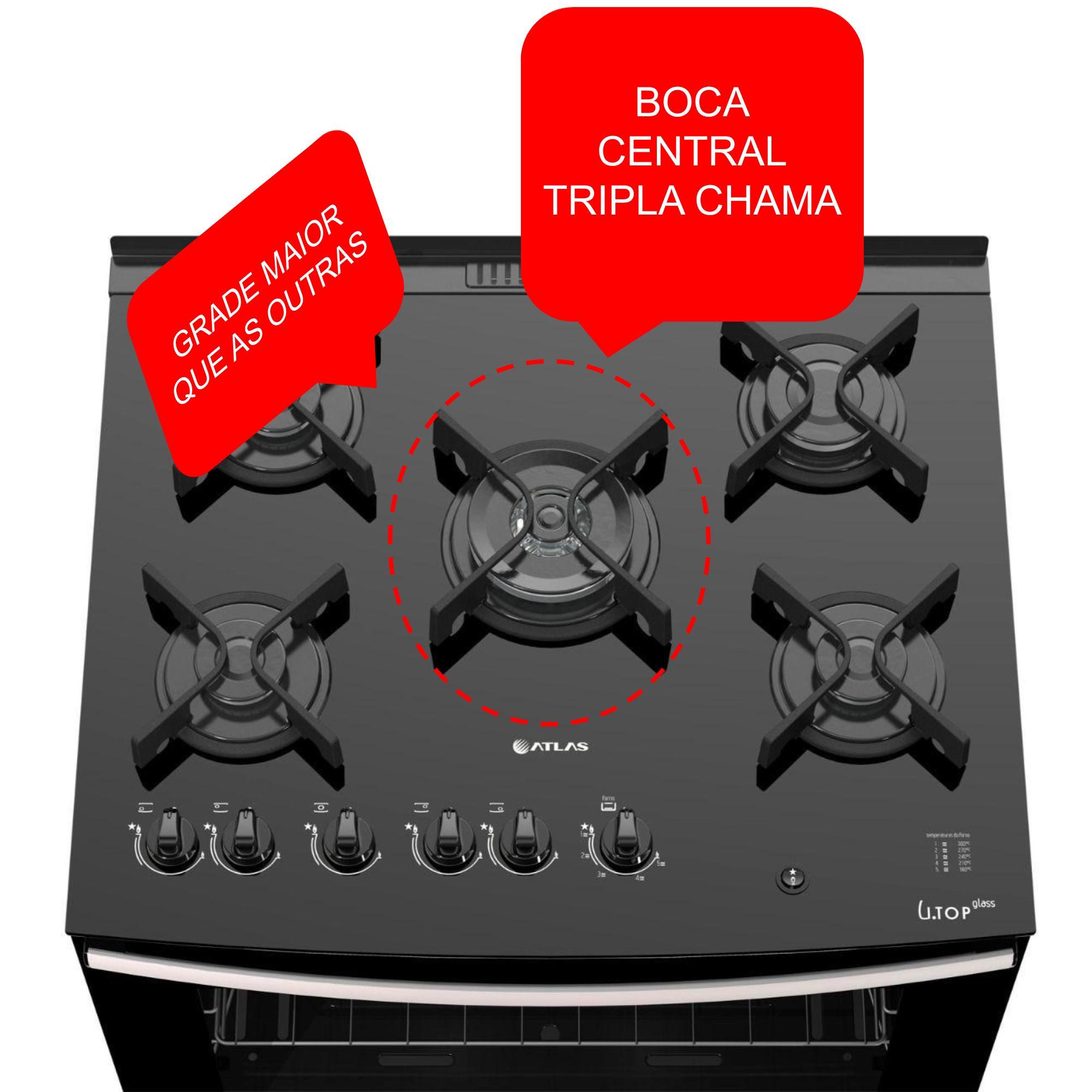 GRADE TREMPE CENTRAL FERRO FOGÃO ATLAS DAKO TC TOP GLASS TRIPLA CHAMA