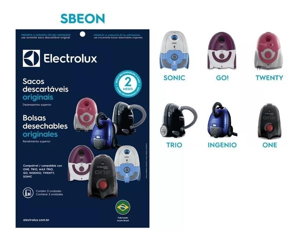KIT 3 SACO DESCARTÁVEL ASPIRADOR ELECTROLUX ONE (DT30BGBR001P) SBEON