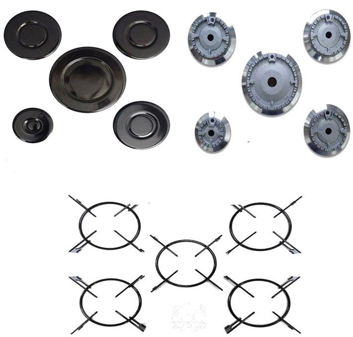 Kit 5 Espalha Chamas + 5 Queimadores + 5 Grades p/ Fogão Cooktop Casa Vitra