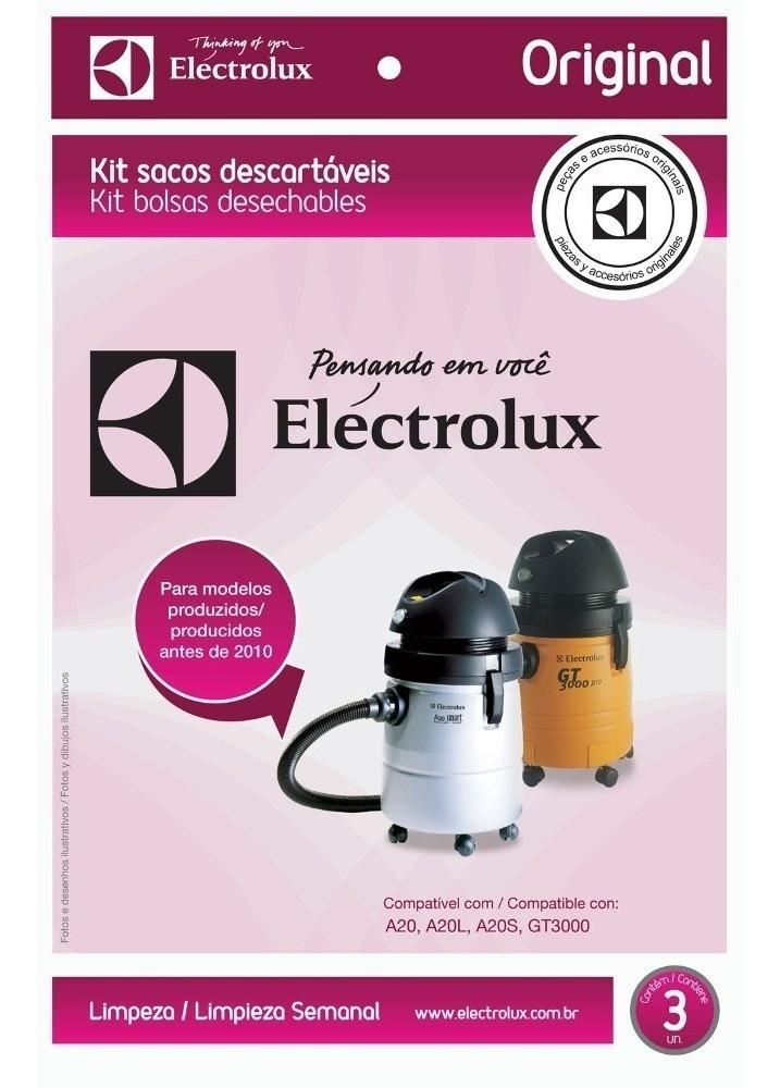 KIT C/ 3 SACOS ASPIRADOR ELECTROLUX A20 GT3000 (DT30AEBR004)