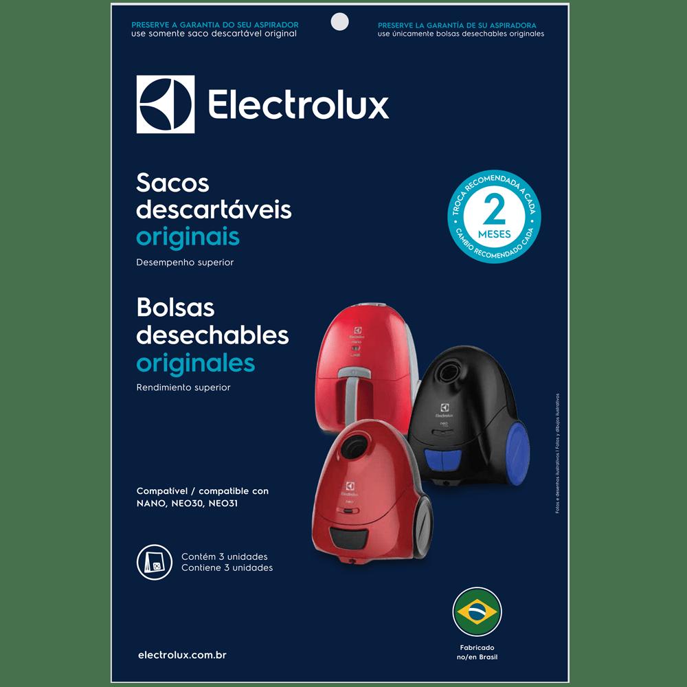 Kit c/ 3 Sacos Descartáveis p/ Aspiradores de Pó Modelos: Nano, NEO30 e NEO31 Electrolux (SBENA)