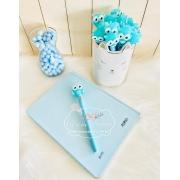 caneta coruja azul