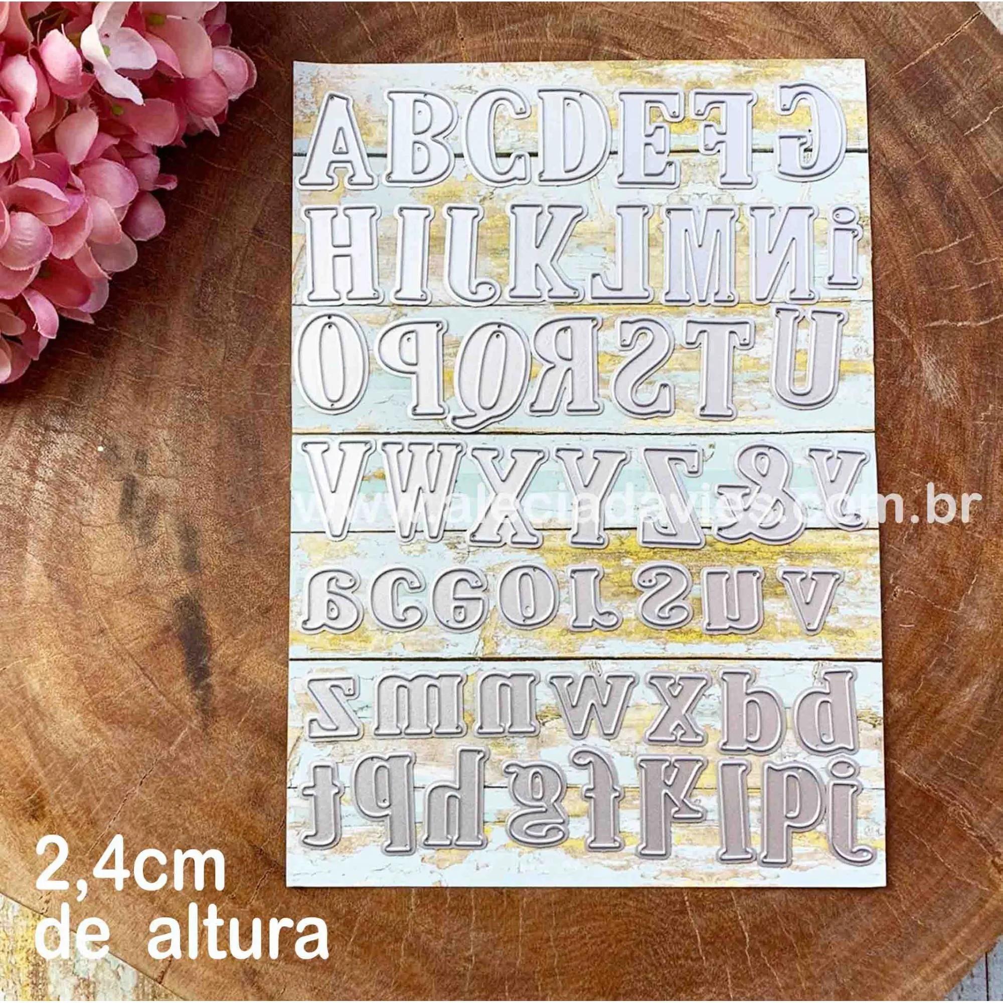 Alfabeto 2,4cm de altura maiúsculas e minúsculas