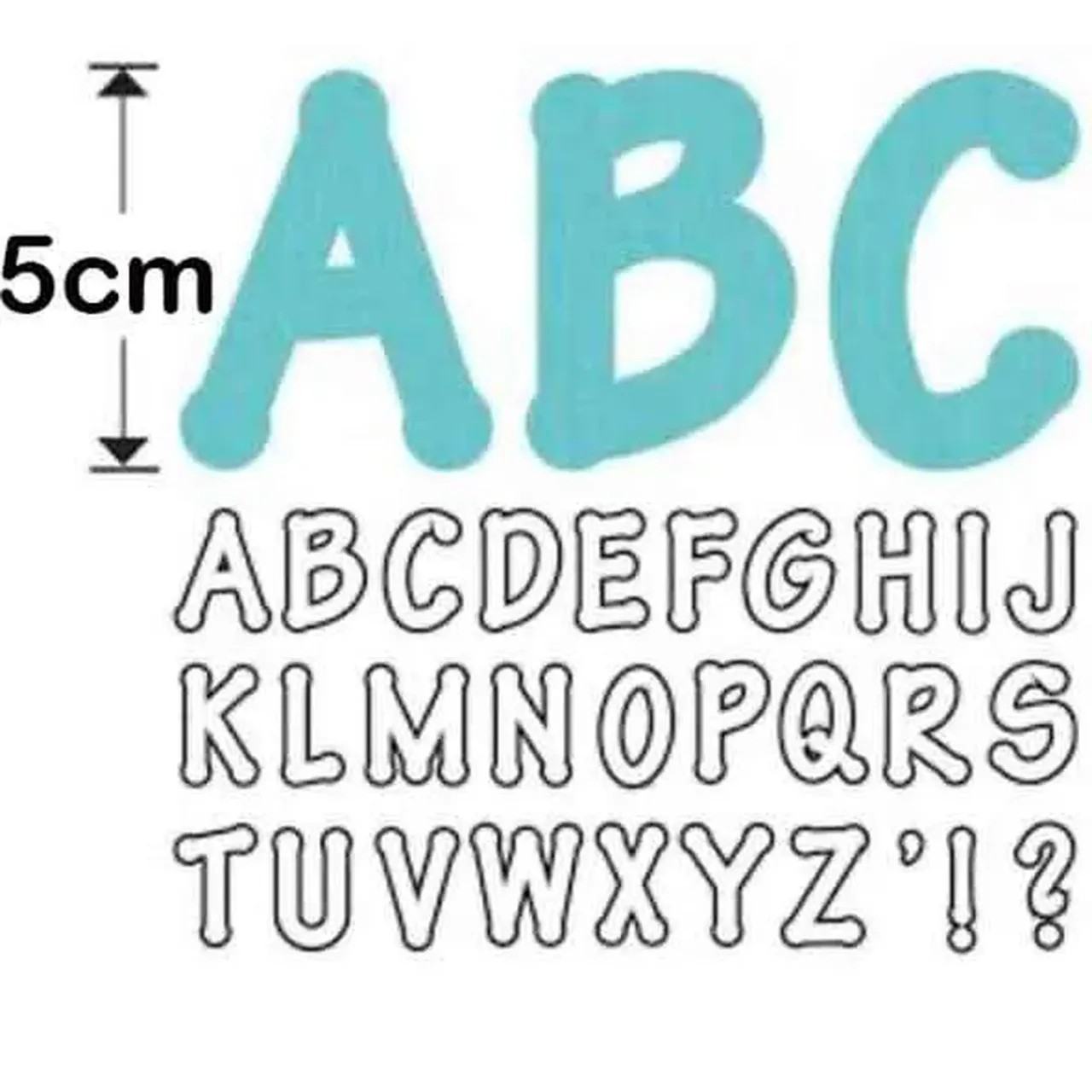 alfabeto 5cm de altura