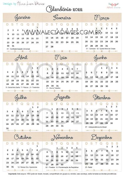 ARTE CALENDÁRIO DE MESA 2022 ( FLORAL MARROM)