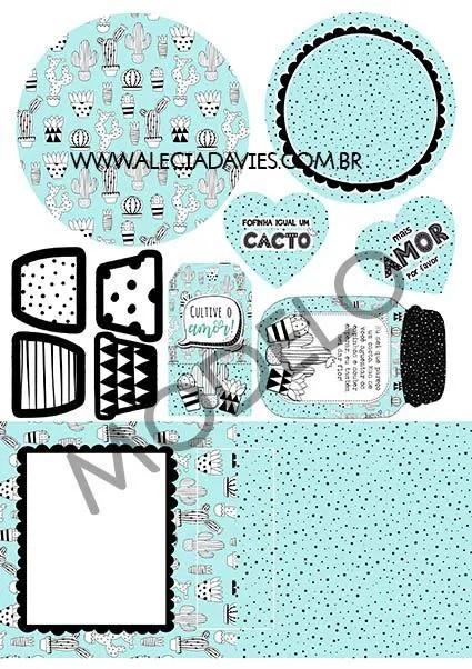 ARTE CARTÃO CACTOS CACTUS AZUL E PRETO