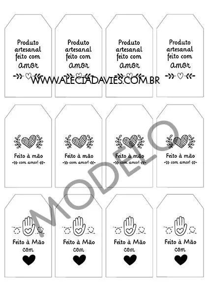 ARTE TAG RETA PARA EMBALAGENS - COMPATÍVEL COM TAGS RETAS