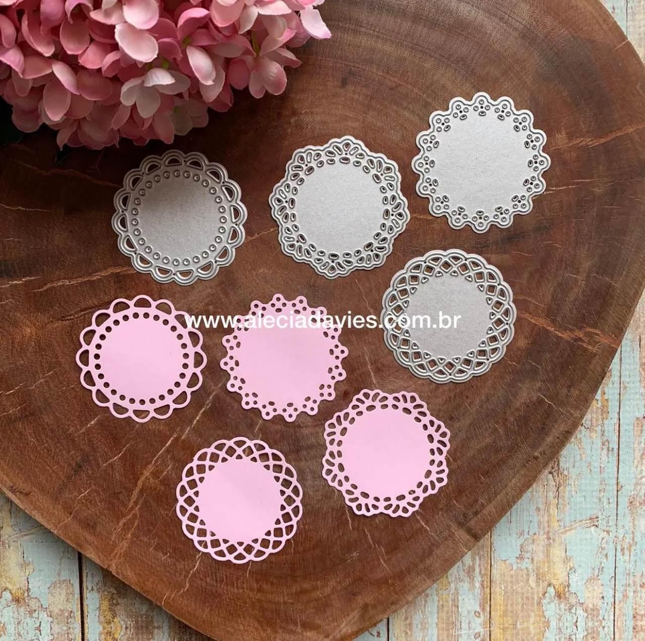 conjunto 4 círculos rendados Escalopes 6cm