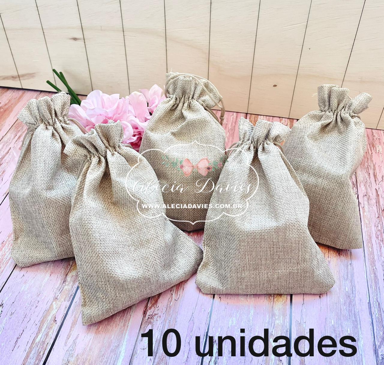 SAQUINHO ESTILO JUTA 10 UNIDADES COR NATURAL