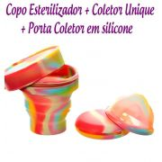 Kit: Coletor Menstrual Unique 60ml + Copo Esterilizador Unicorn + Porta Coletor