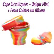 Kit: Coletor Menstrual UNIQUE MINI 30ml + Copo Esterilizador Unicorn + Porta Coletor