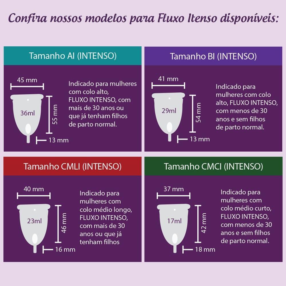 Coletor Menstrual - CMCI (Colo Médio Curto - Fluxo Intenso)
