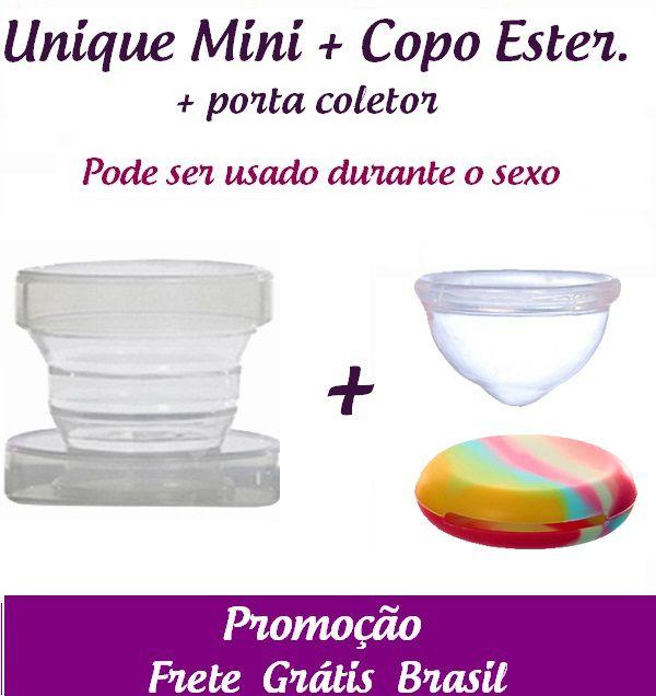 Kit: Coletor Menstrual UNIQUE MINI 30ml + Copo Esterilizador + Porta Coletor
