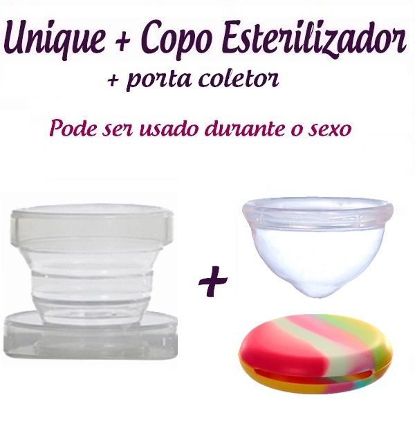Kit: Coletor Menstrual Unique 60ml + Copo Esterilizador + Porta Coletor