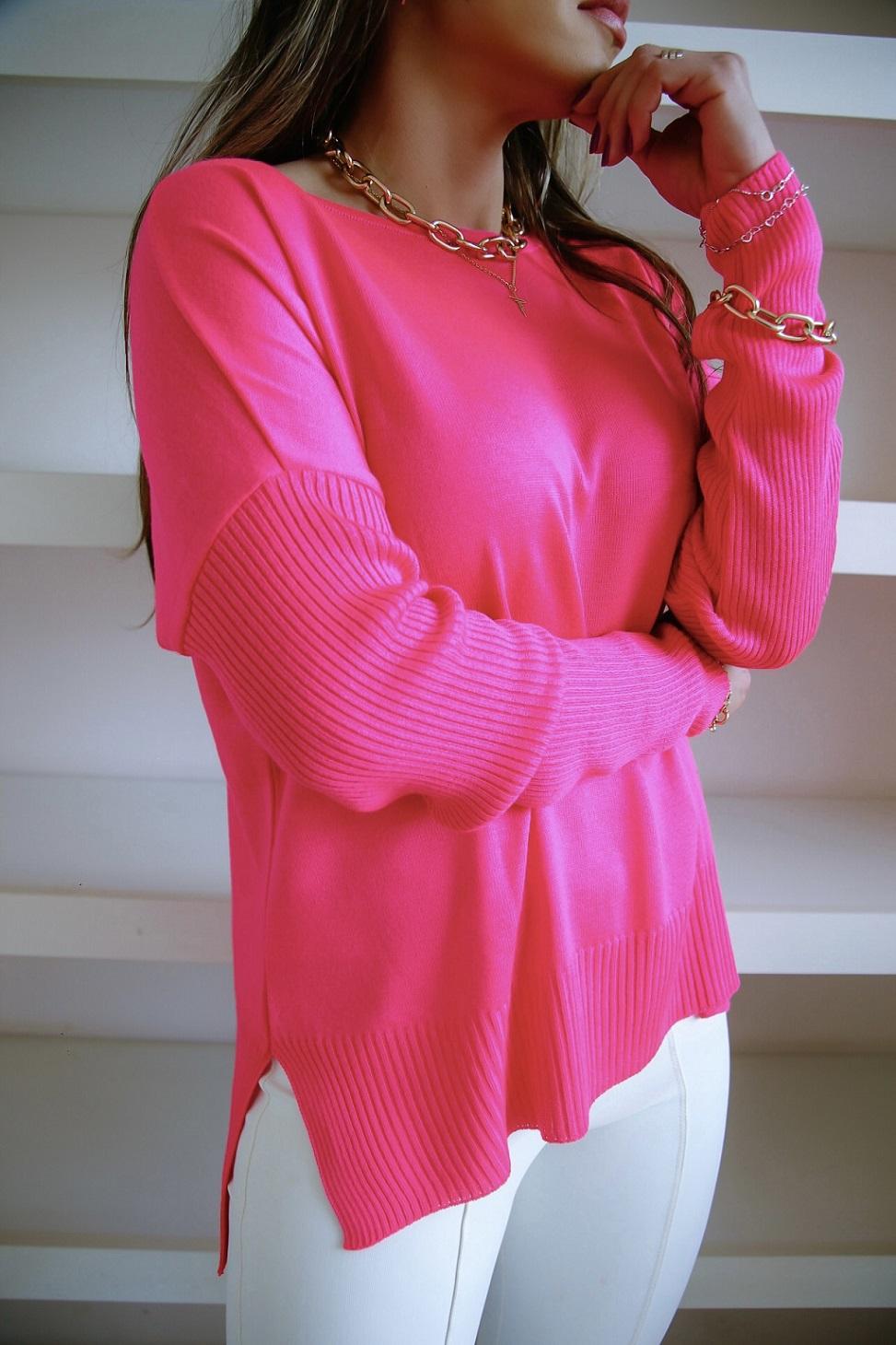 Blusa Bianca Patena Tricot Canoa Manga Canelada Rt Pink