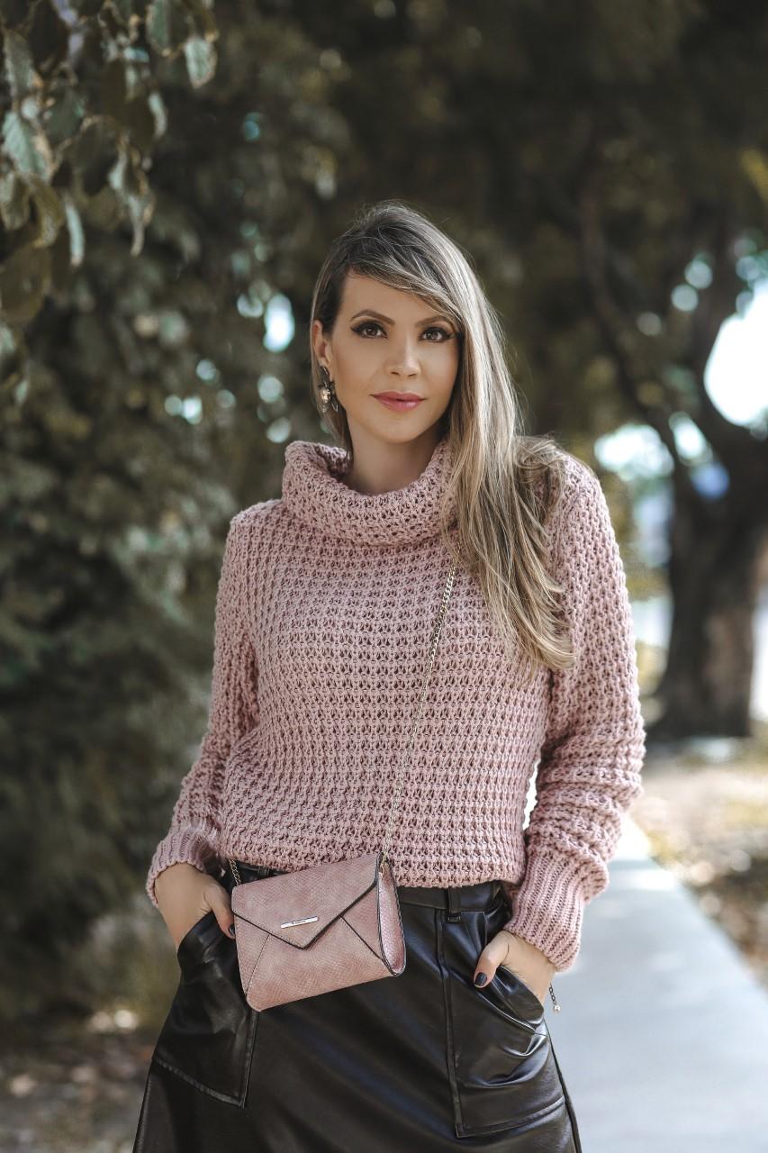 Blusa Cacau Patena Tricot Rolê Grossa Mullet Is Rosa