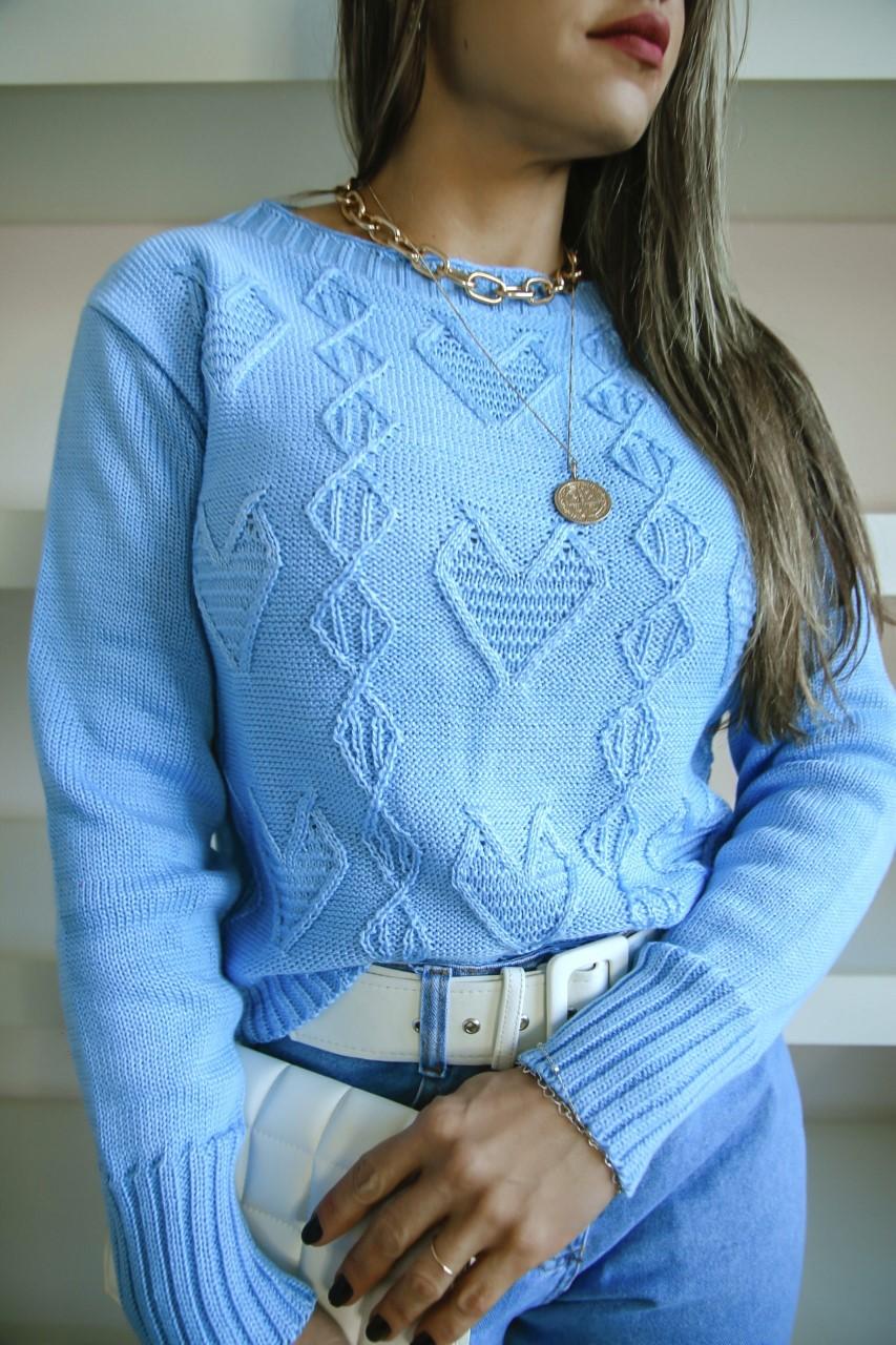 Blusa Heart Tricô Patena Tricot Ct Azul