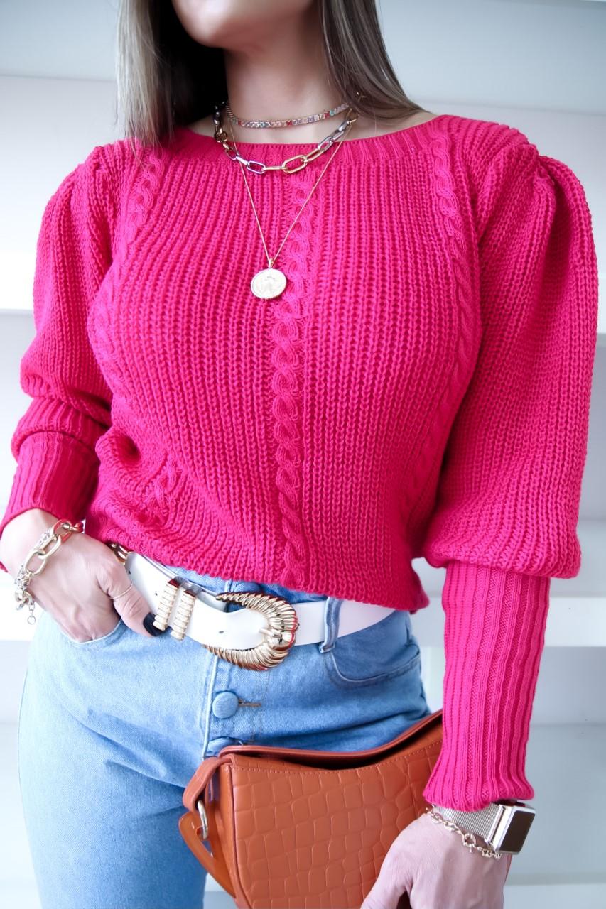 Blusa Helena Patena Tricot Trancinha Td Rosa Pink