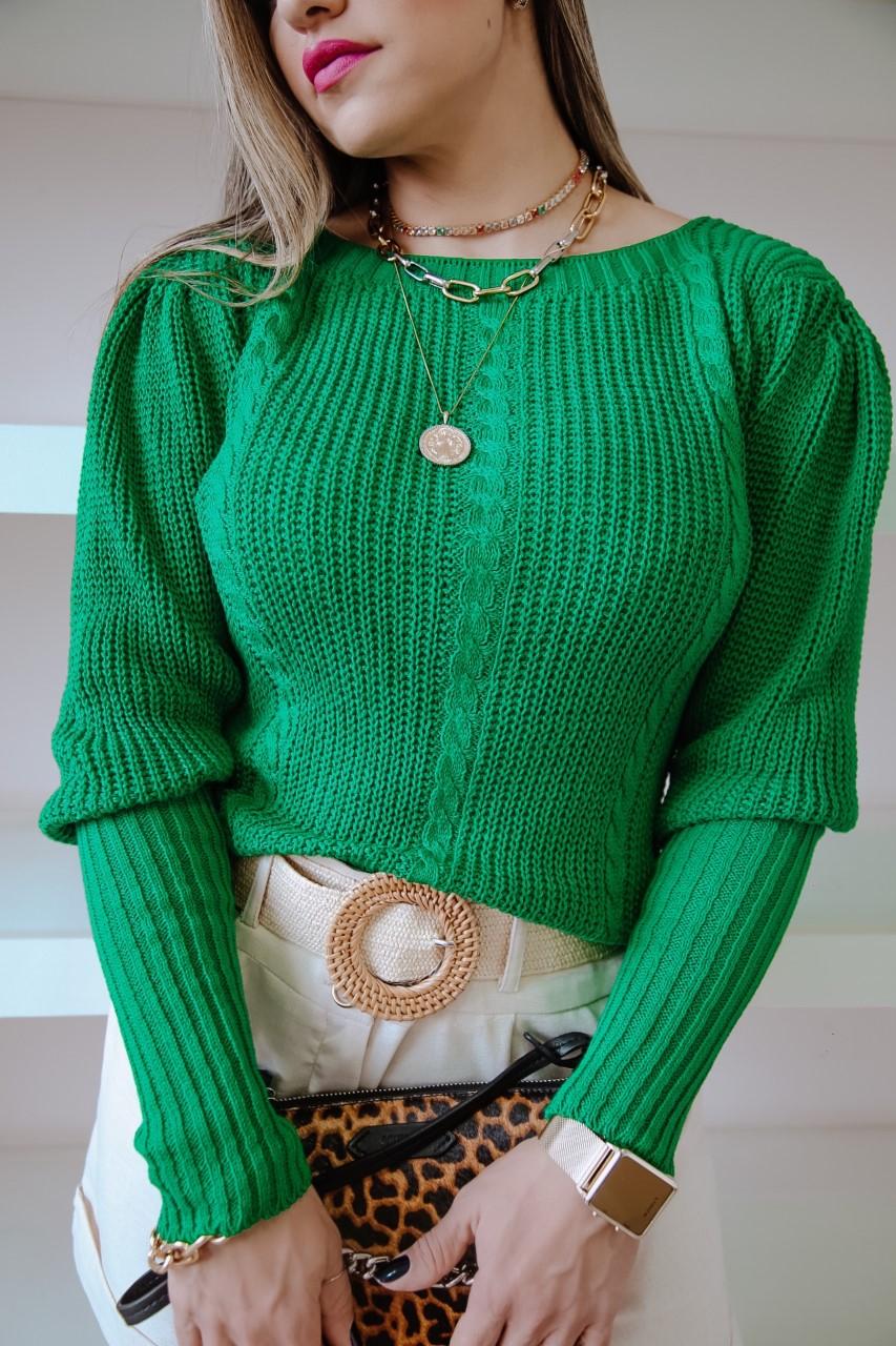 Blusa Helena Patena Tricot Trancinha Td Verde
