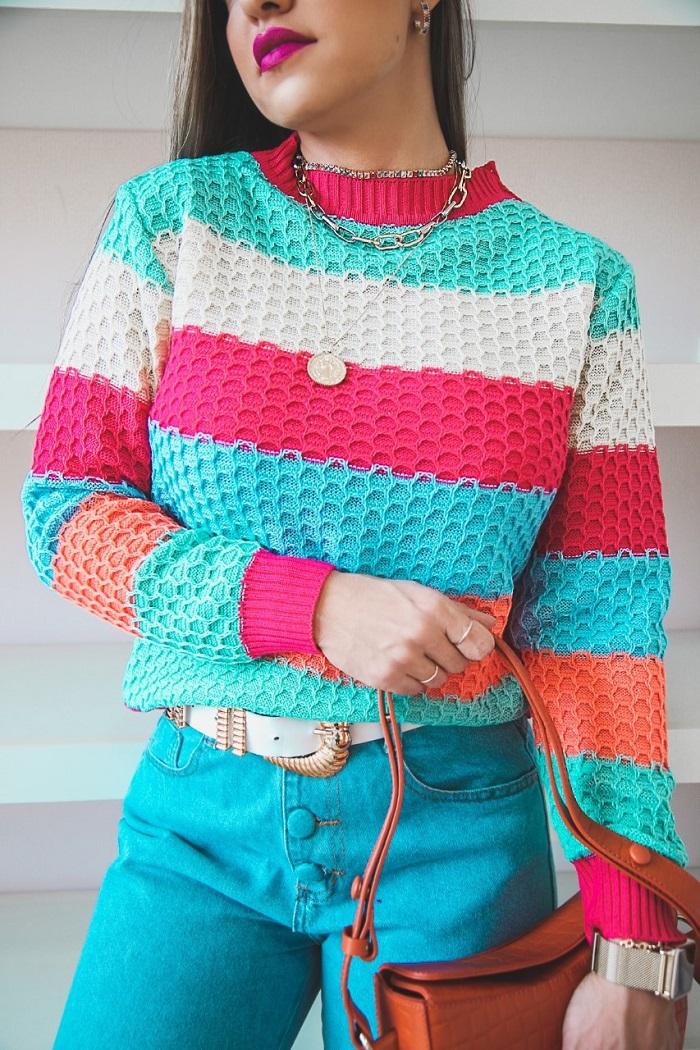 Blusa Larissa Patena Tricot Casulo Multicolor Lt Rosa Pink