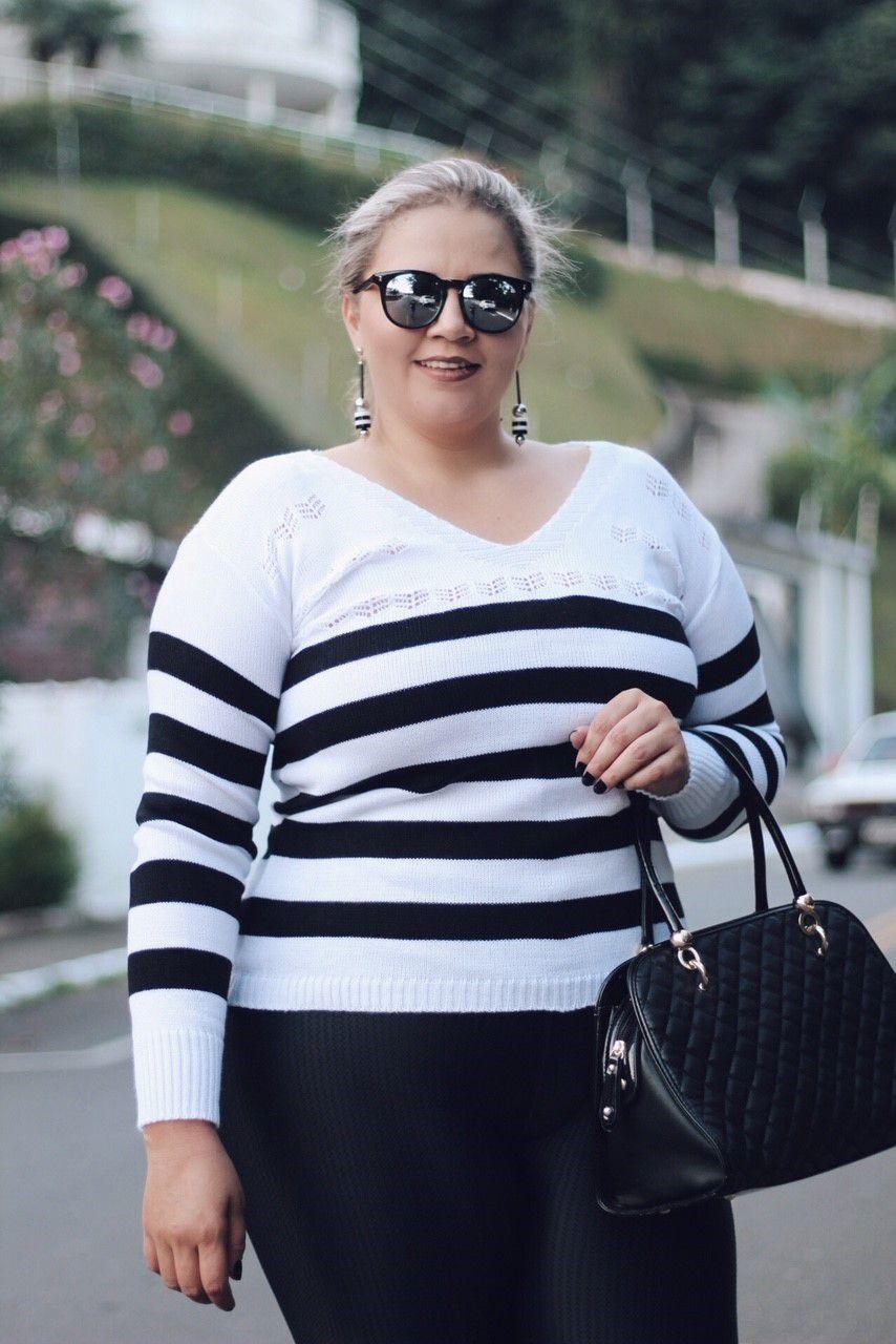 Blusa Tricot Listra Fina Plus