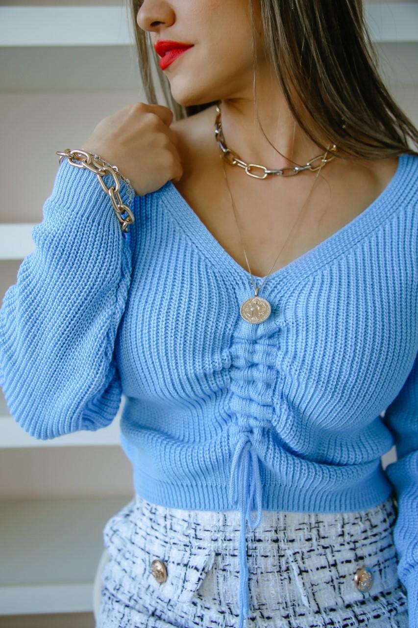 Blusa Renata Patena Tricot Lace Up Costas Rt Azul